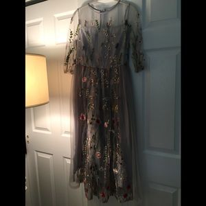 Women's Grey Mesh and Floral Dress